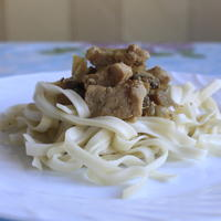 Свинина с грибами и лапшой Удон:)