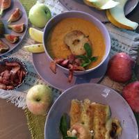 С едой на Ты, или Рецепты от Кости: суп-пюре из яблок с морковью и каннеллони с сыром и кешью в соусе бешамель и яблочном пюре