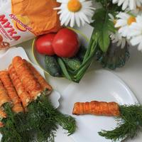 """Закуска в """"морковках"""" из слоеного теста"""