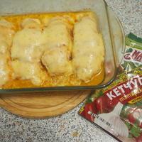 Куриная гармошка - в ней кетчупа немножко, помидоры, сыр и тмин... Вот такой сегодня пир!