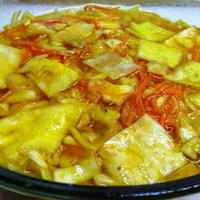 Желтая капуста по-корейски быстрого приготовления