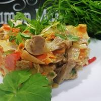 Салат с куриными желудочками. Легкий в плане приготовления