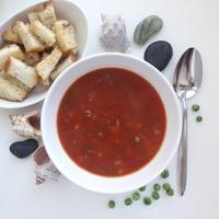 Рыбный суп с зелёным горошком. Особенно прекрасен с чесночными гренками