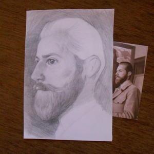 Пишу портрет художника Рериха С.Н.  Еще в процессе...