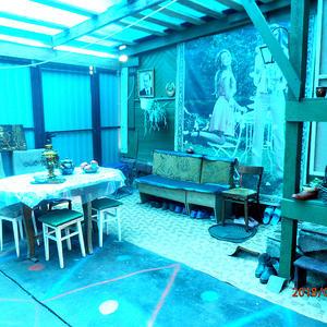 Наша беседка-терасса, покрытая синим поликарбонатом