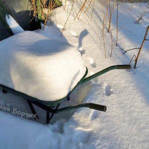 Переполненная снегом тачка