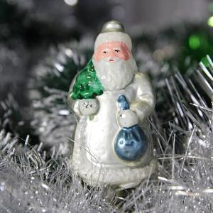 Дед мороз, елочная игрушка на прищепке. Ретро