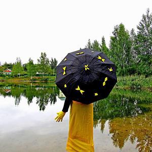 Я под зонтиком стою и с природою грущу:  вдруг рассталось лето с солнцем, вода - грустное оконце