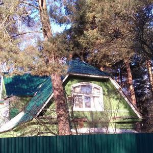 За высоким забором видно только мансардное окошко))