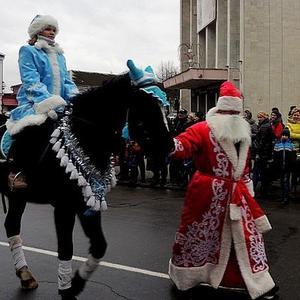 Лошадку ведёт под уздцы... Дед Мороз!