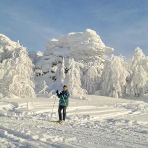 На лыжах до снежных скал