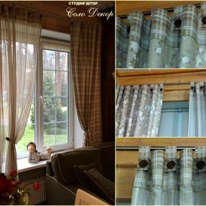 Комбинированные шторы в загородный дом