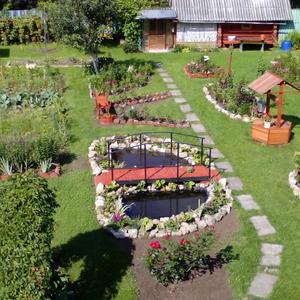 Наш сад! Пруд, декоративный колодец, мангал, клумбы