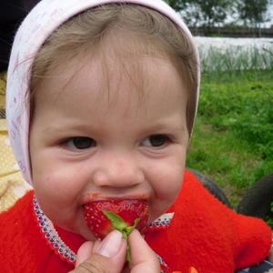 Пробует свою первую ягоду в жизни