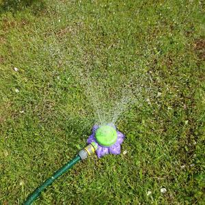 Цветок поливает газон