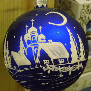 Новогодняя елочная игрушка - Зимний вечер