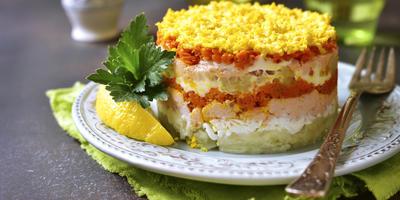 Салат «Мимоза» с морковью