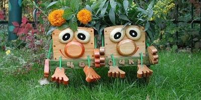 Чудесные деревянные кашпо для сада