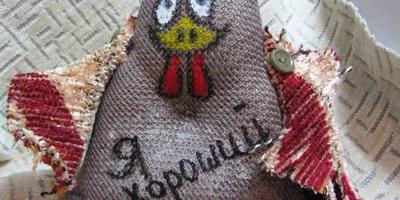 Текстильные аппликации Петушки и курочки