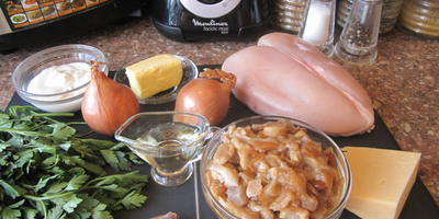 """Блинный пирог с курицей и грибами в праздник """"Широкая Масленица"""""""