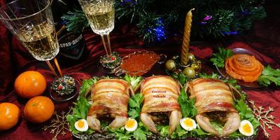 Перепела, фаршированные куриной печенью с коньячными яблоками - деликатес на новогоднем столе