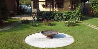 Площадка из бетонного полотна под чашу для разведения костра