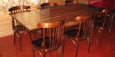 Декор старого стола в технике фладрования - имитация рисунка дерева