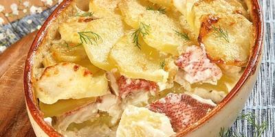 Картофельная запеканка с сырной корочкой и нежным рыбным филе