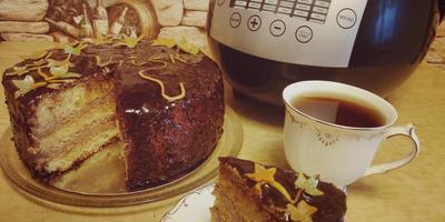 """Торт """"Осенний лист"""" в мультиварке. Апельсины и шоколад - очень вкусно!"""
