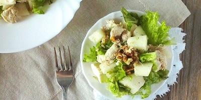 """Салат с дыней, курицей, сыром """"Фета"""" и грецкими орехами - греческая кухня"""