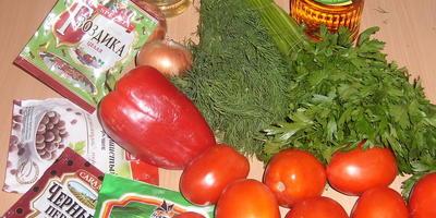 Заготовка зимнего салата из помидоров