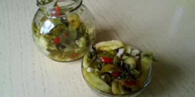 """Салатик из зелёных помидорок на зиму """"до ноября"""""""
