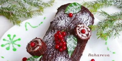 """Украшение новогоднего рулета """"Рождественское полено"""""""