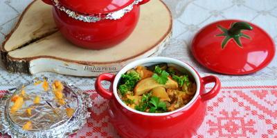 Овощное рагу с рисом и по желанию с грибами. (Постное меню)