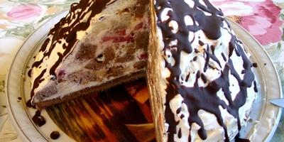 Шоколадный торт с вишней и орехами