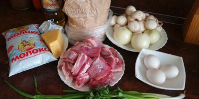 Блинные мешочки с грибами и сыром и блинчики с мясным фаршем