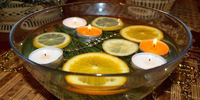 Новогодний декор с плавающими свечами