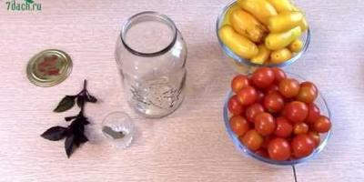 Рецепт консервирования помидоров черри с базиликом (видео)