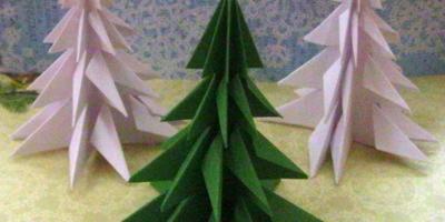 Елочка оригами из одного листа бумаги