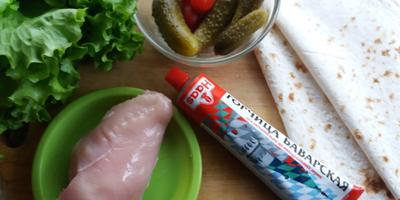 Горчица баварская Haas - лучшая приправа для твистера с курочкой, зеленью и овощами