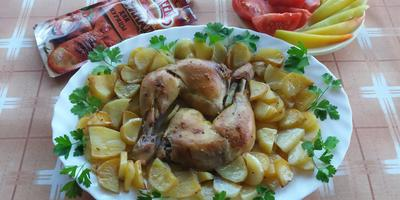 Окорочка в маринаде для курицы «Махеевъ», запеченные с картошкой