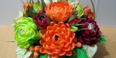 Корзинка с хризантемами в подарок. Свит-дизайн