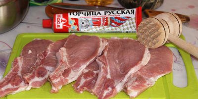 Свиной карбонад на решетке в горчичном маринаде
