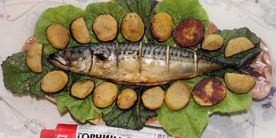 Скумбрия в горчичном маринаде, запеченная с картошечкой