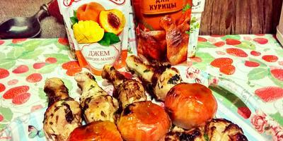 Куриные окорочка в маринаде Махеевъ с десертом на углях