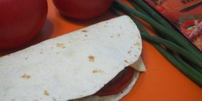В лепёшке котлета, сыр, лук, помидоры - такие вот были вчера мы обжоры...