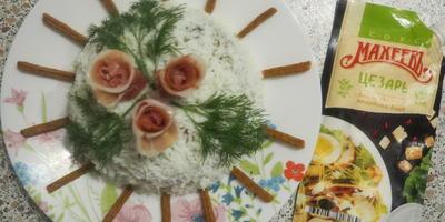"""""""Оливье"""" по-новому, или """"Розы в снегу"""" - салат простой, но с пармской ветчиной!"""