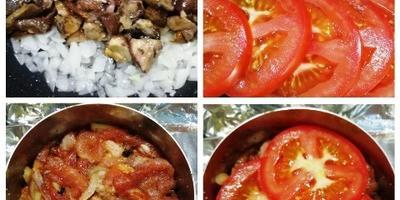 Мясо с грибами под картофелем-пай