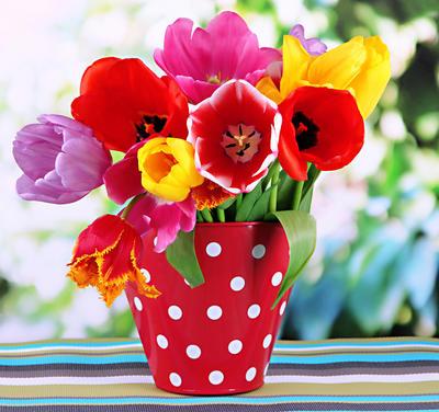 Букет из распустившихся тюльпанов