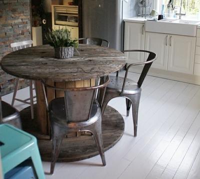 Стол из катушки для кабеля. Фото с сайта rustic-crafts.com